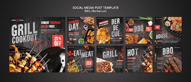 Zestaw postów w mediach społecznościowych z grilla