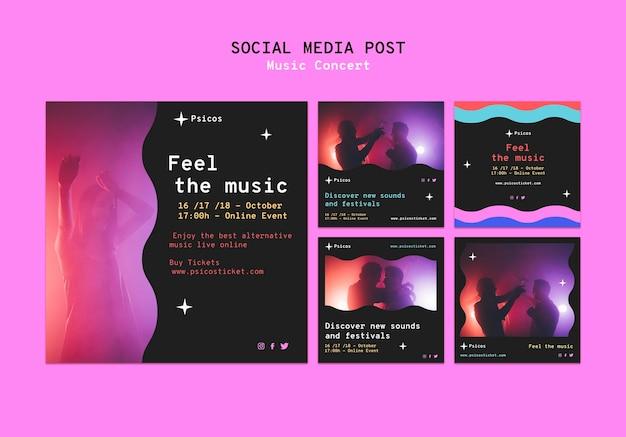 Zestaw postów w mediach społecznościowych z koncertu muzycznego
