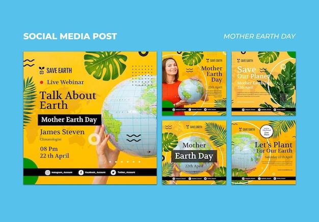 Zestaw postów w mediach społecznościowych z okazji dnia matki ziemi