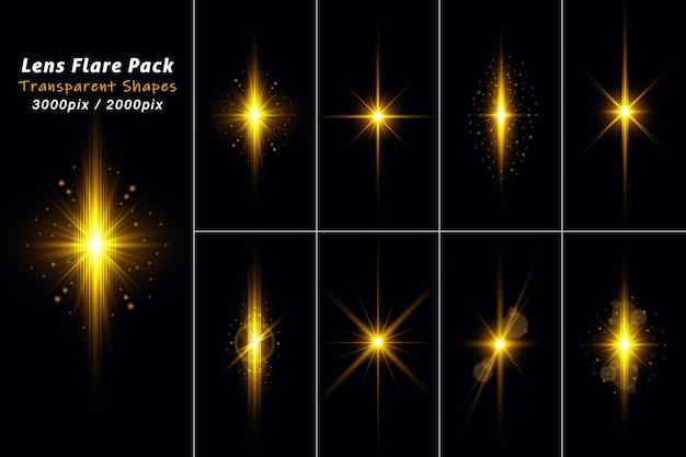 Zestaw przezroczystej złotej smugi światła z flarami soczewkowymi