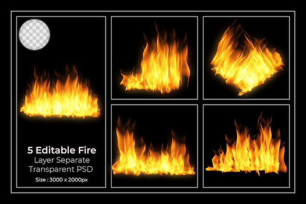 Zestaw przezroczystych płomieni ognia