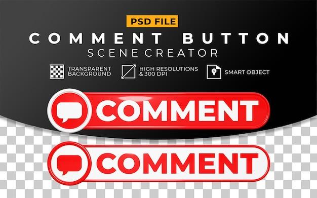 Zestaw przycisku komentarza 3d