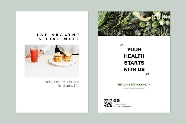 Zestaw psd szablon plakatu programu dietetycznego