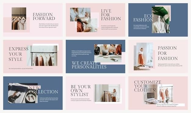 Zestaw psd szablon prezentacji biznesowej mody