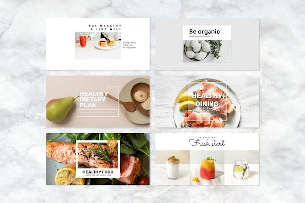 Zestaw psd szablon transparent zdrowej żywności