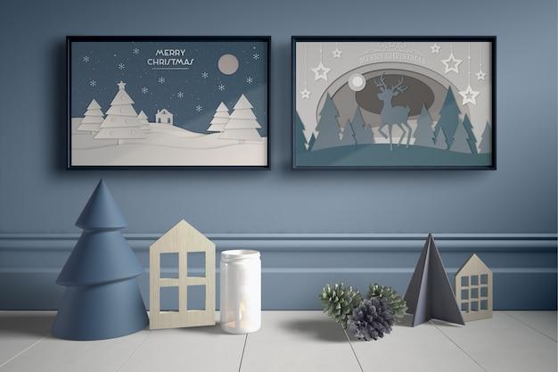 Zestaw ramek na ścianę z miniaturowymi elementami domu