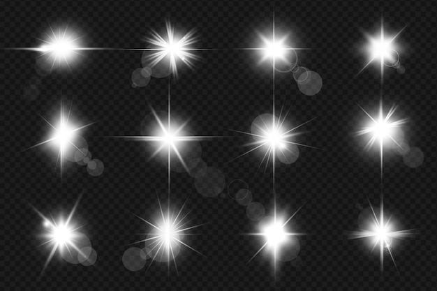 Zestaw realistycznych flar świecących soczewek