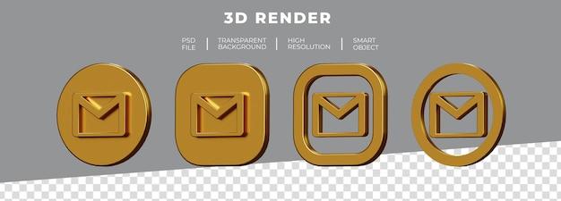 Zestaw renderowania 3d złote logo gmail na białym tle