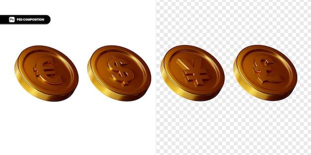 Zestaw renderowania 3d złote monety wymiany na białym tle