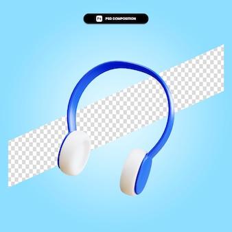 Zestaw słuchawkowy 3d render ilustracja na białym tle