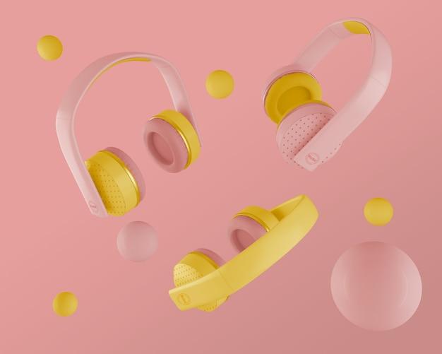 Zestaw słuchawkowy z różowymi i żółtymi słuchawkami z lat 80