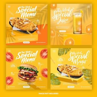 Zestaw szablonów banerów na instagramie promocji menu
