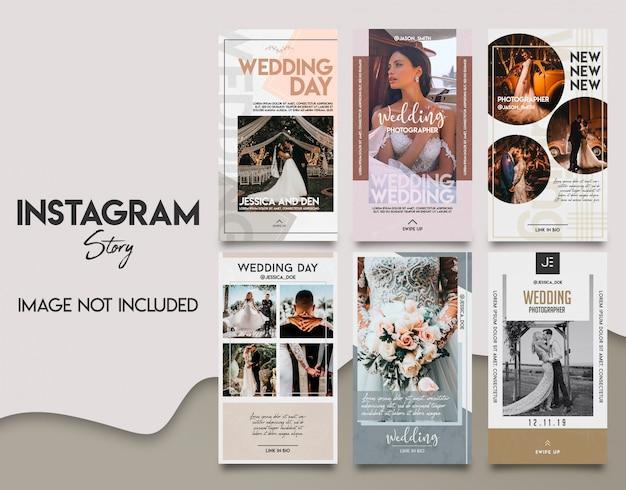 Zestaw szablonów historii ślubnej instagram
