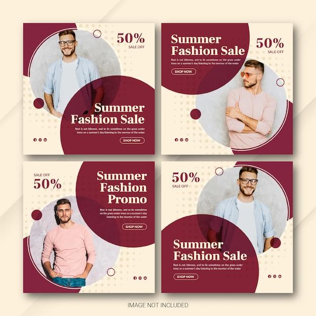 Zestaw szablonów post sprzedaży letniej instagram