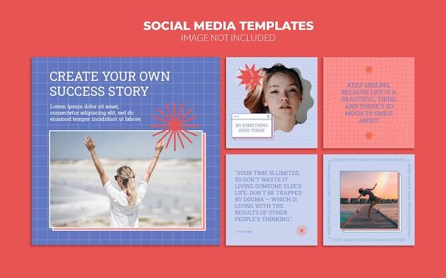 Zestaw szablonów postów w stylu vintage w mediach społecznościowych