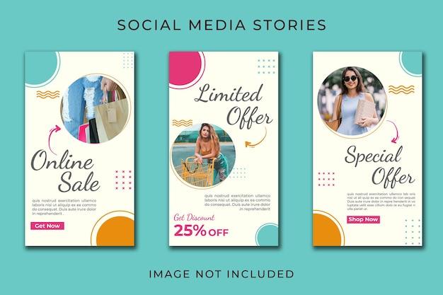 Zestaw Szablonów Sprzedaży Online Na Instagram Story Premium Psd