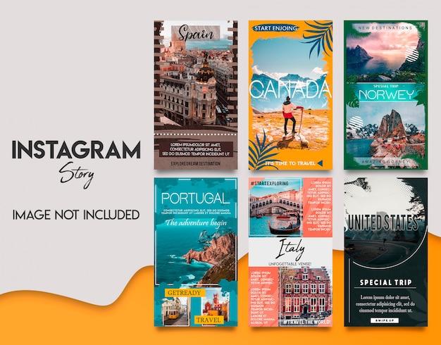 Zestaw szablonów tavel instagram stories