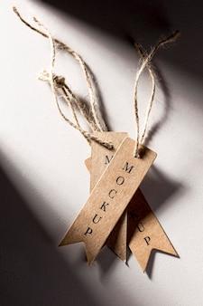 Zestaw tagów makiet odzieży