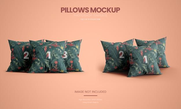 Zestaw trzech makiet stojących poduszek
