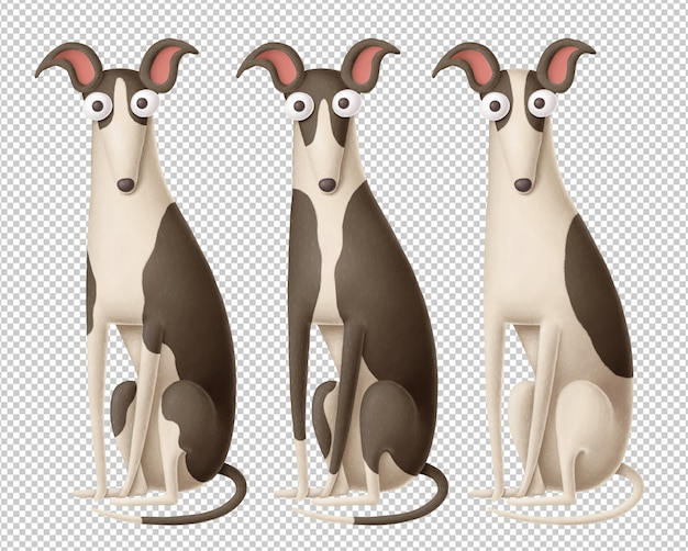Zestaw trzech zabawnych psów clipart