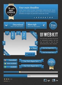 Zestaw web szablon niebieski