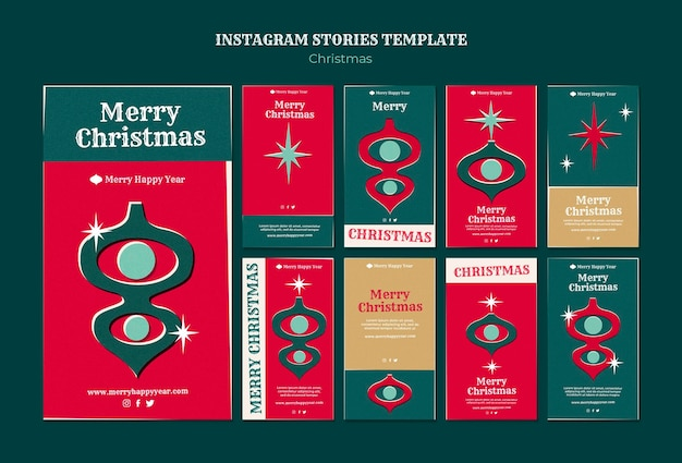 Zestaw wesołych świątecznych opowieści na instagramie