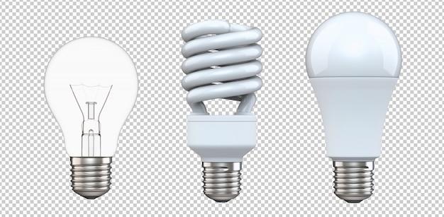 Zestaw żarówki wolframowej, świetlówki i żarówki led na białym tle