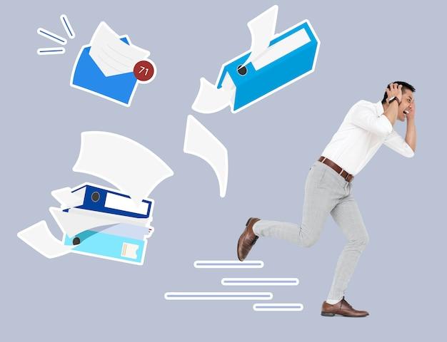 Zestresowany biznesmen ucieka od swoich zadań