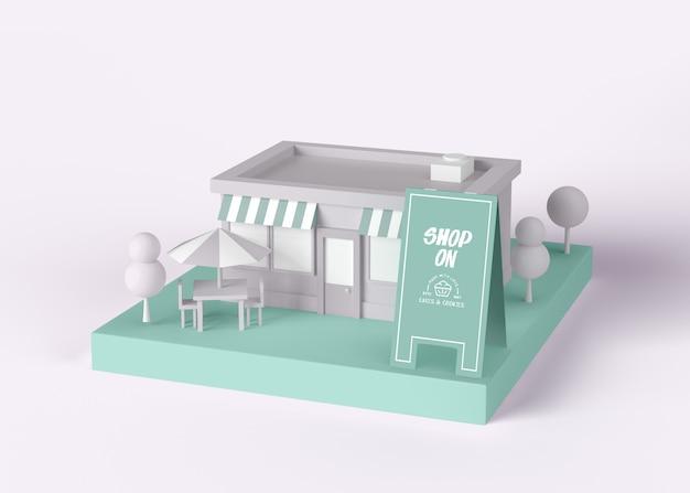 Zewnętrzny sklep reklamowy na makiecie