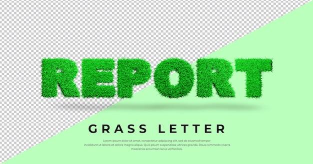 Zgłoś tekst listu z projektem trawy 3d