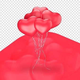 Zgrupowane balony w kształcie na białym tle serca