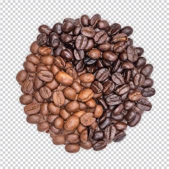 Ziarna kawy na białym tle premium psd