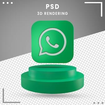 Zielona 3d obrócona ikona logo whatsapp na białym tle