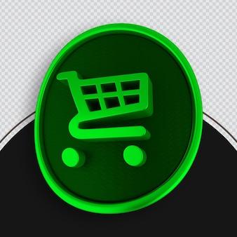 Zielona ikona zakupów renderowania 3d