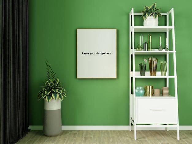 Zielona ściana z dekoracyjnymi zestawami makiet plakatu
