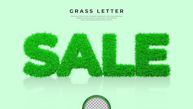 Zielona trawa sprzedaży słowo w renderowaniu 3d