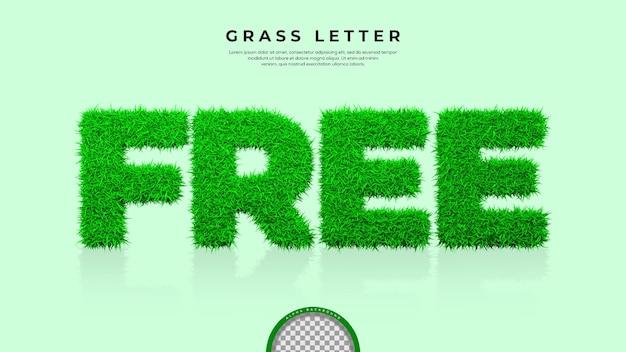 Zielona trawa wolnego słowa w renderowaniu 3d