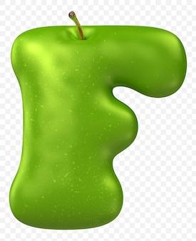 Zielone jabłko alfabet litera f na białym tle