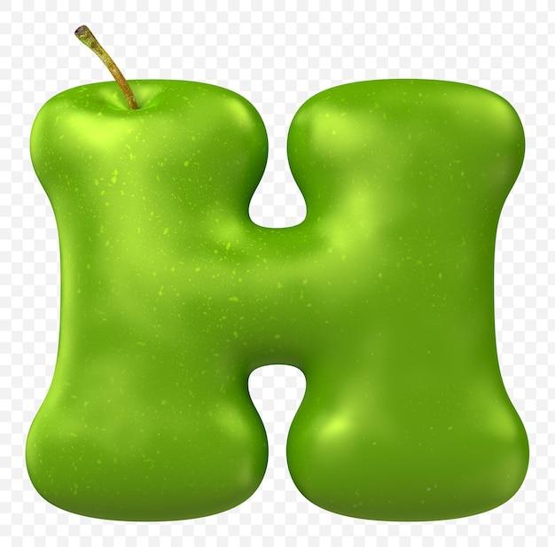 Zielone jabłko alfabet litera h na białym tle