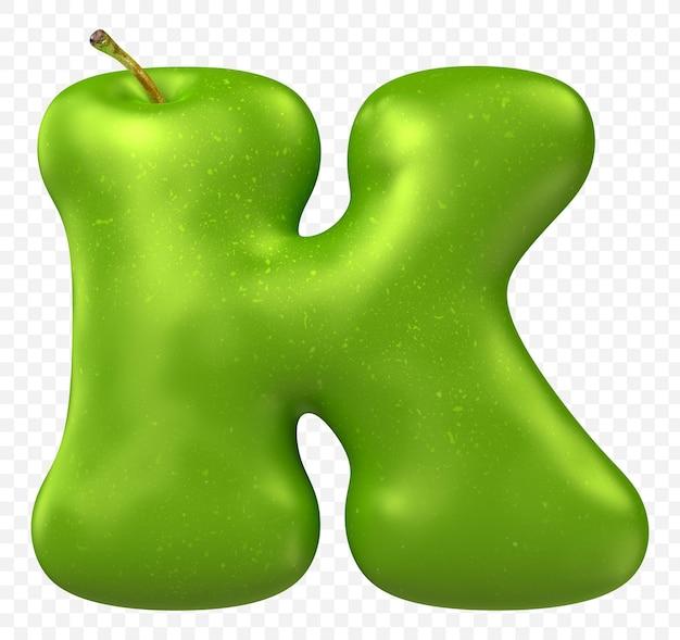 Zielone jabłko alfabet litera k na białym tle