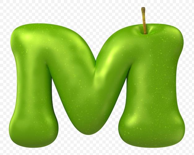 Zielone jabłko alfabet litera m na białym tle