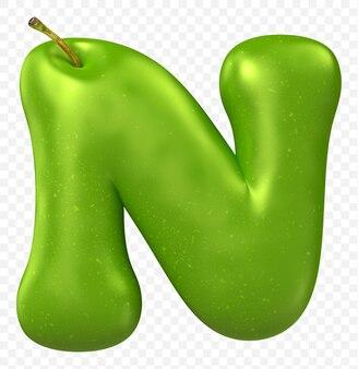 Zielone jabłko alfabet litera n na białym tle