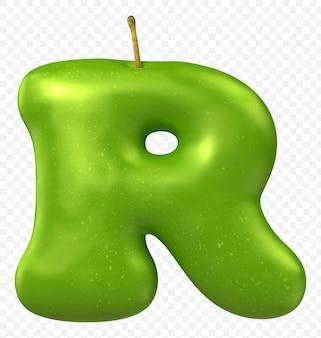 Zielone jabłko alfabet litera r na białym tle