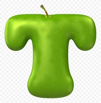 Zielone jabłko alfabet litera t na białym tle
