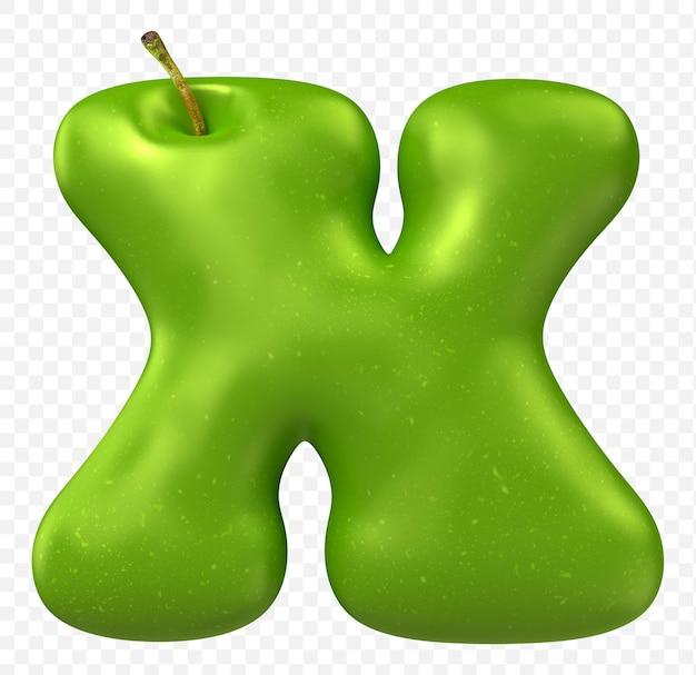 Zielone jabłko alfabet litera x na białym tle