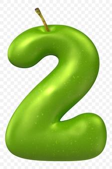 Zielone jabłko alfabet numer 2 na białym tle