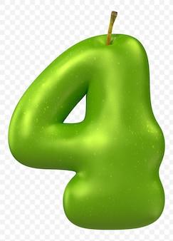 Zielone jabłko alfabet numer 4 na białym tle