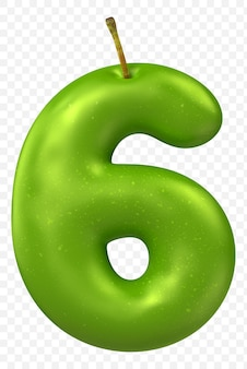 Zielone Jabłko Alfabet Numer 6 Na Białym Tle Premium Psd