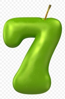 Zielone jabłko alfabet numer 7 na białym tle