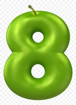 Zielone jabłko alfabet numer 8 na białym tle